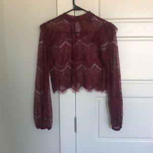 Burgundy lace long-sleeved crop top